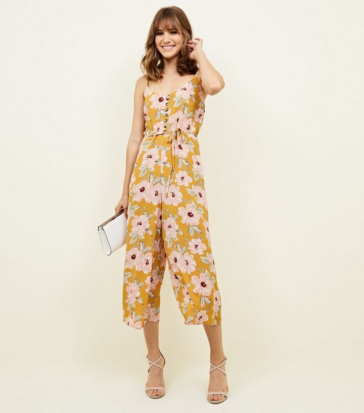 21b09cde622b Yellow Strappy Floral Tie Jumpsuit