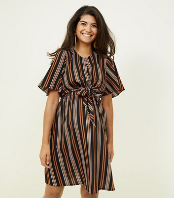 Maternity Black and Rust Stripe Tie Front Dress