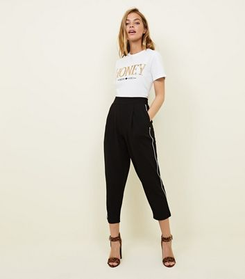 Petite Black Piped Side Stripe Tapered Trousers