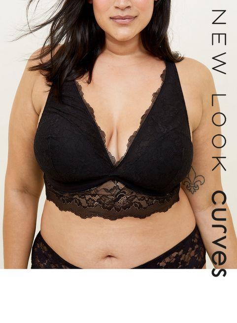 53ed2a46e0 ... Curves Black Lace Longline Bralette ...