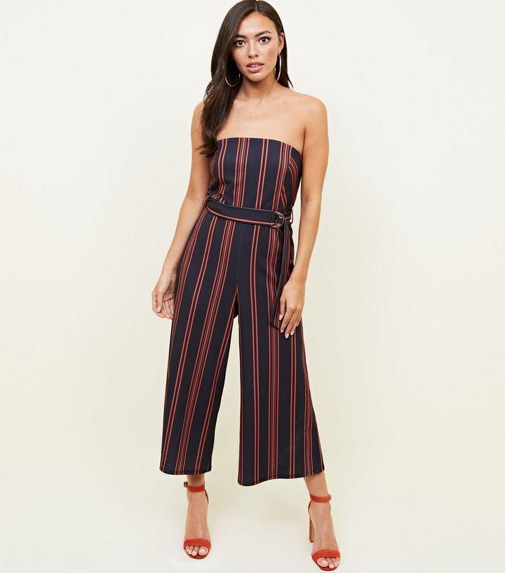 c327276c9672 Black Stripe Bandeau Culotte Jumpsuit