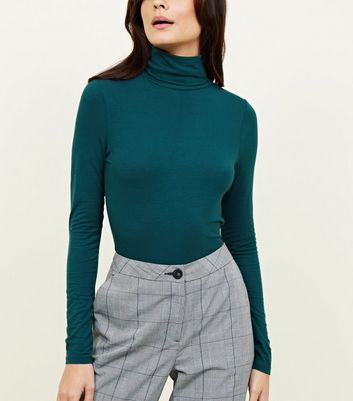 Dark Green Roll Neck Top