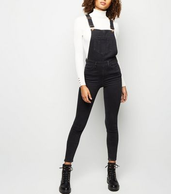 Tall Black Pocket Front Skinny Denim Dungarees