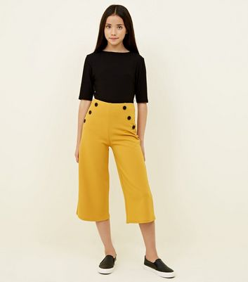 Girls Mustard Button Front Culottes
