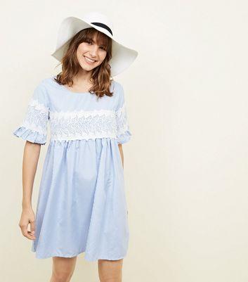 Apricot Blue Stripe Lace Trim Smock Dress New Look