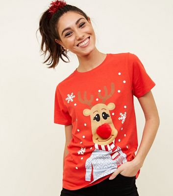 Red Christmas Reindeer Pom-Pom T-Shirt