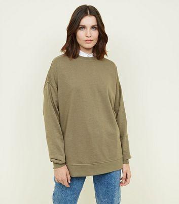Khaki Crew Neck Oversized Sweatshirt by New Look