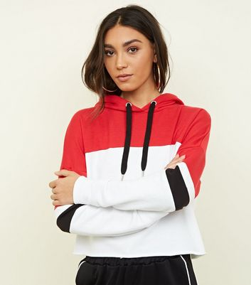 Red Colour Block Cropped Hoodie