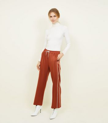 Rust Satin Piped Side Wide Leg Joggers