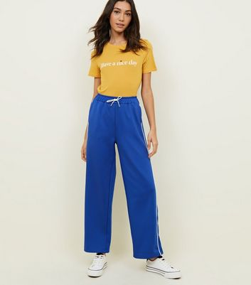 Blue Piped High Shine Wide Leg Joggers