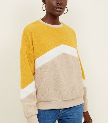 Yellow Chevron Stripe Borg Sweatshirt