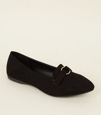 Wide Fit Black Suedette Ring Loafers