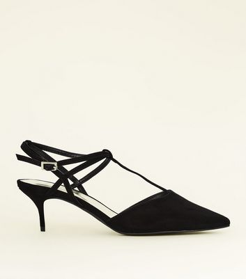 Wide Fit Black Suedette T-Bar Kitten Heels
