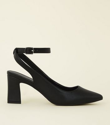 Wide Fit Black Flare Heel Slingbacks