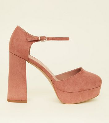 Wide Fit Pink Suedette Flared Platform Heels