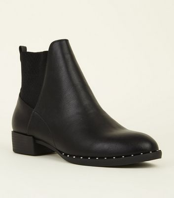 Black Studded Rim Chelsea Boots