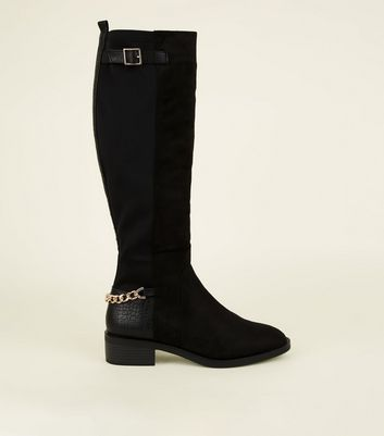 Black Suedette Chain Strap Knee High Boots