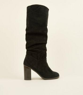 Black Block Heel Knee High Slouch Boots