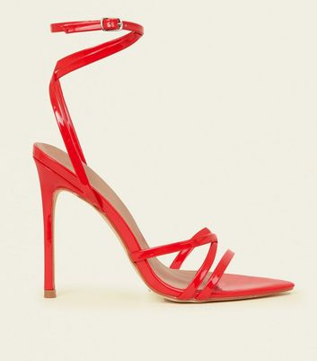 Red Patent Pointed Open Toe Strappy Stilettos