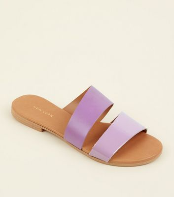 Lilac Leather and Patent Strap Mules