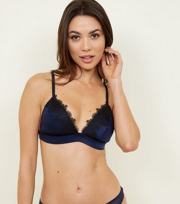 Navy Satin Guipure Soft Padded Bralette