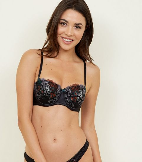 bdf89d5cd8df6 ... Black Floral Embroidered Balcony Bra ...