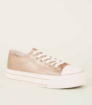 Rose Gold Faux Snakeskin Flatform Trainers