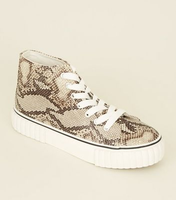 Black Snake Print Chunky High Top Sneakers
