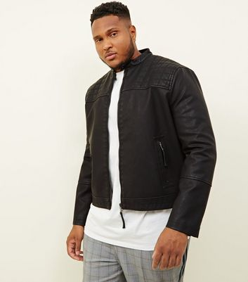 Plus Size Black Quilted Yoke Leather-Look Jacket