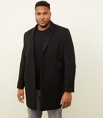 Plus Size Black Overcoat