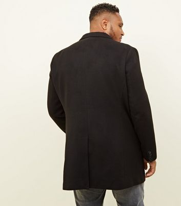 shop for Men's Plus Size Black Overcoat New Look at Shopo