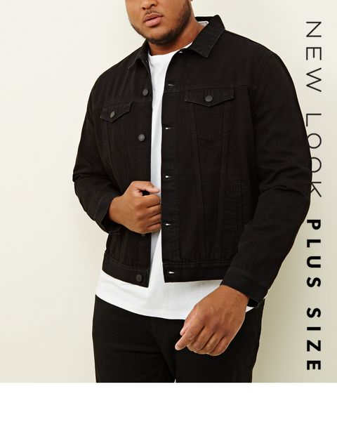 202924bb9130a ... Plus Size Black Denim Jacket ...