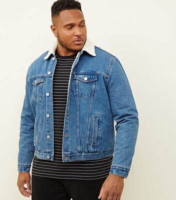 Plus Size Pale Blue Washed Borg Lined Denim Jacket
