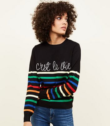 New Look c'est la vie slogan jumper in stripe