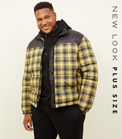 ... Plus Size Yellow Check Puffer Jacket ...