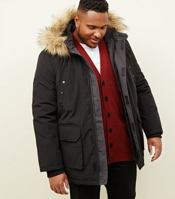 Plus Size Black Faux Fur Trim Hooded Parka