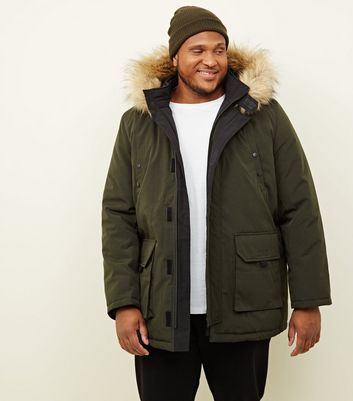 Plus Size Khaki Faux Fur Trim Hooded Parka