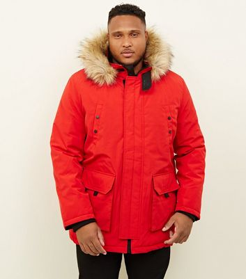 Plus Size Red Faux Fur Trim Hooded Parka