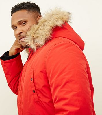 shop for Men's Plus Size Red Faux Fur Trim Hooded Parka New Look at Shopo
