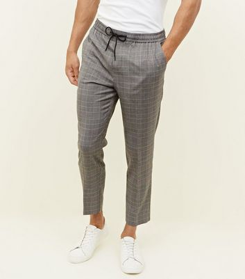 Grey Check Pull-On Trousers