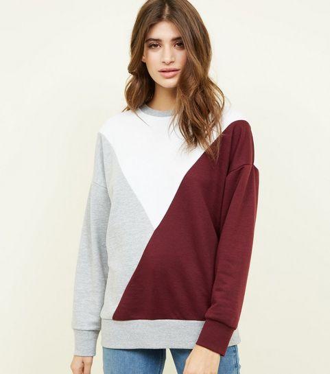 6f36c8b94c1d Burgundy Diagonal Colour Block Sweatshirt · Burgundy Diagonal Colour Block  Sweatshirt ...