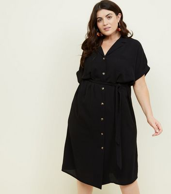 Curves Black Revere Collar Belted Shirt Dress