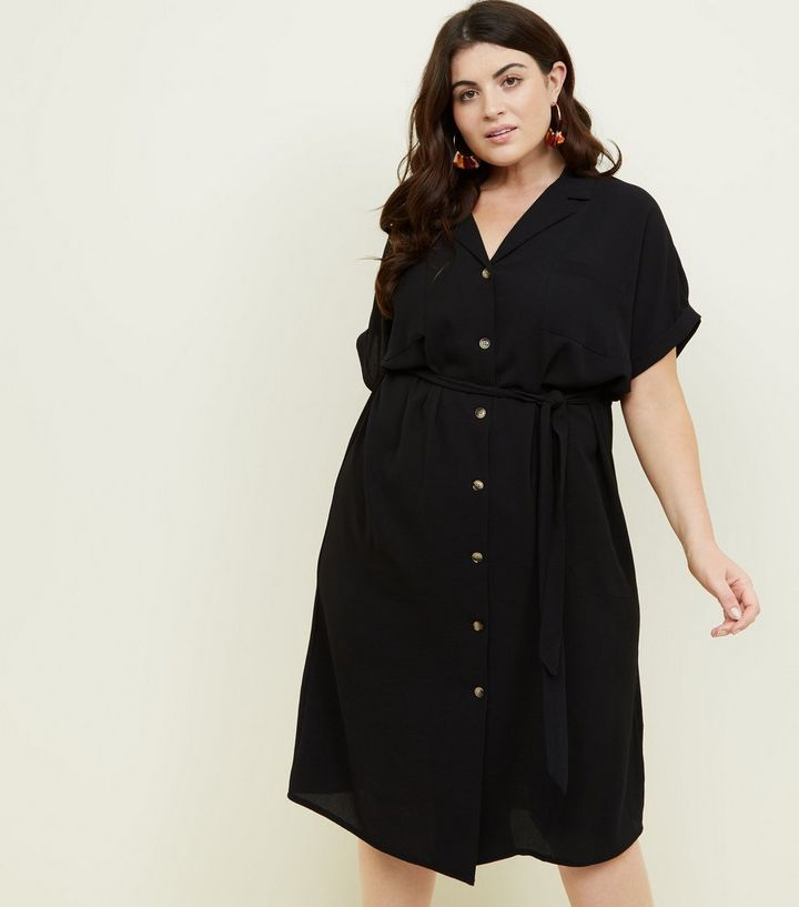 d6a8f8be297 Curves Black Revere Collar Belted Shirt Dress