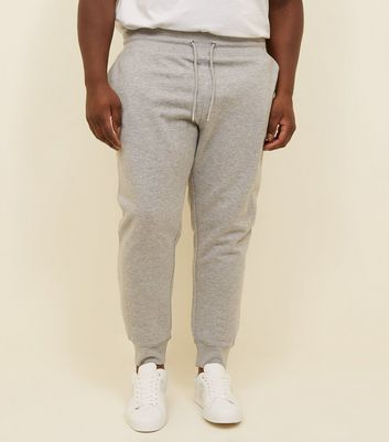 Plus Size Grey Marl Ribbed Cuffed Joggers