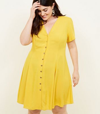 Curves Mustard Yellow Button Front Tea Dress