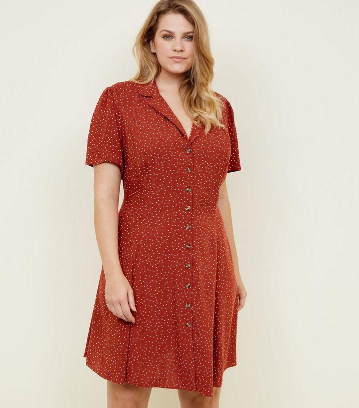 2474965c47 Curves Rust Spot Print Collared Tea Dress