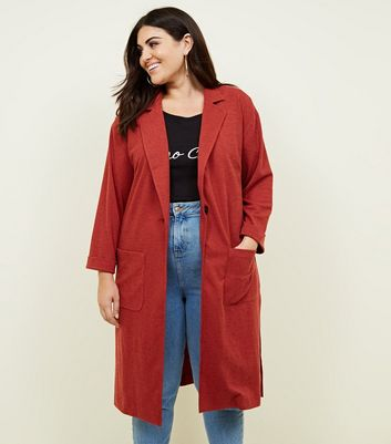 Curves Rust Cross Hatch Duster Jacket