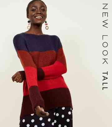 Tall Red Colour Block Jumper