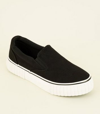 Black Canvas Slip On Chunky Trainers