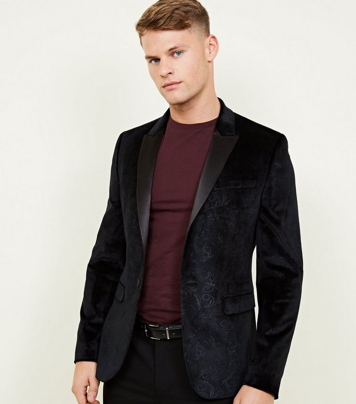 high quality best deals on on feet shots of Black Velvet Paisley Jacquard Blazer Add to Saved Items Remove from Saved  Items